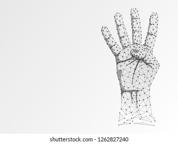 Origami style Sign language number four gesture, human hand showing four fingers. Polygonal low poly illustration. Deaf People silent communication alphabet. Wireframe Raster 4 on white background