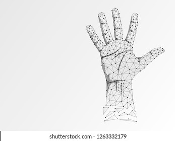 Origami style Sign language number five gesture, human hand showing five fingers. Polygonal low poly high five, succes teamwork. Deaf People silent communication alphabet. Wireframe Raster 5 on white