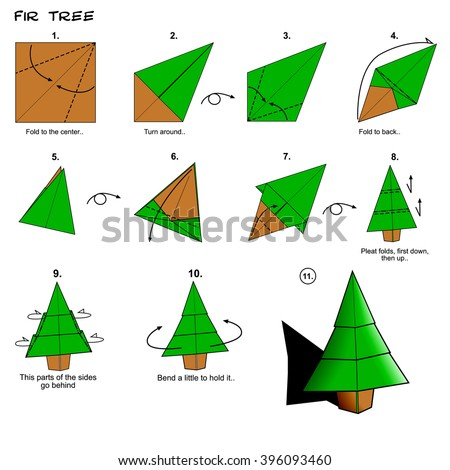 Origami traditional fir tree diagram instructions stock.