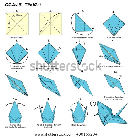 Origami    Traditional Japan Crane Tsuru    Diagram    Stock