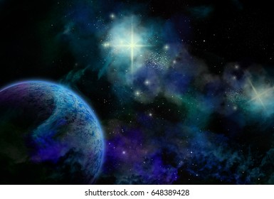 Original 2D illustration. Space fantasy scene. Alien galaxy, planets, nebula and space clouds.
