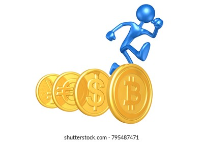 The Original 3D Character Illustration With A Bitcoin Hurdle