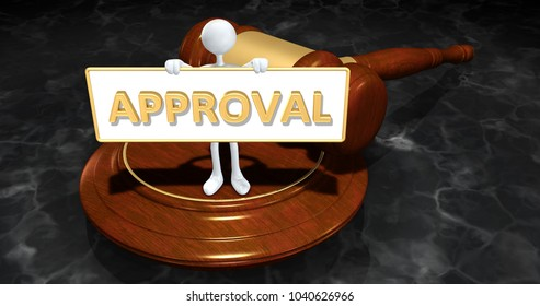 The Original 3D Character Illustration Law Concept Holding A Sign That Reads Approval