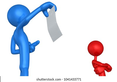The Original 3D Character Illustration Pointing To A  Piece Of Paper With Another Ignoring It