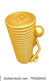 The Original 3D Character Illustration With A Stack Of Bitcoins