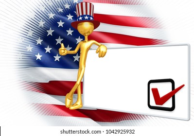 The Original 3D Character Illustration Wearing An Uncle Sam Hat Voting Concept