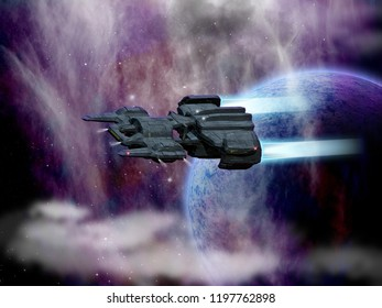 Original 3D illustration. Space fantasy scene with a large spaceship. Alien planet, stars and nebula.