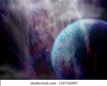Original 3D illustration. Space fantasy scene. Alien planet, stars and nebula.