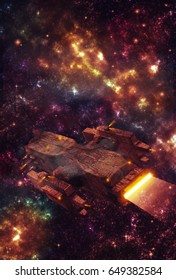 Original 3D illustration. Space fantasy scene with a futuristic spaceship vehicle. Alien galaxy, nebula and space clouds.
