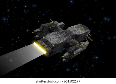 Original 3D illustration. Space fantasy scene with a large spaceship in deep space. near an alien planet.