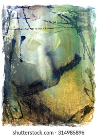 Original Abstract Drip Splatter Painting in Green and Metallic Gold