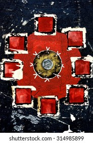Original Abstract Grunge Mandala Painting in Red and Black