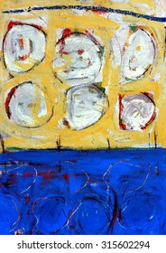 Original Abstract Grunge Painting in Yellow and Blue