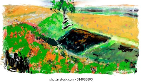 Original Abstract Landscape Painting in Yellow and Green