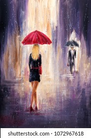 Original abstract oil painting showing woman and man with  umbrellas walking on the street on canvas. Modern Impressionism, modernism,marinism
