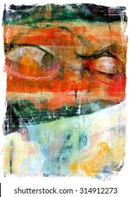 Original Abstract Painting Illustration with Angry Eyes Hatred Violence