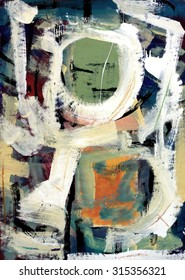 Original Abstract Painting in Sage Green and Salmon