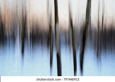 An original abstract photograph of a winter landscape transformed into an abstract digital painting