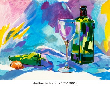 Original abstract water color and  hand drawn painting or   sketch of a bottle,glass,pepper and onion