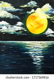 Original acrylic painting of beautiful full moon over ocean on canvas.Modern Impressionism, modernism,marinism