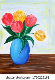 Original Acrylmalerei frischen Blumen Bouquet.Rot und orange Tulpen in einer Vase auf Leinwand.Moderner Impressionismus, Modernismus, Marinismus