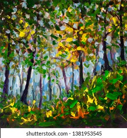 Original acrylic painting impressionism Forest landscape park with tall trees and foliage. Modern arwork nature fite art structure brushwork illustration