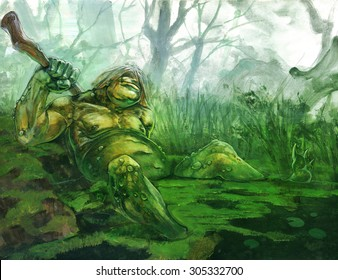 original acrylic painting on paper depicting a troll in a swamp