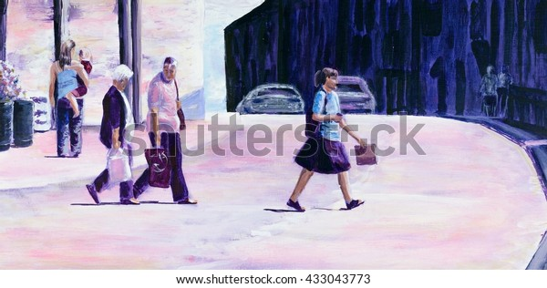 original-acrylic-painting-people-crossin