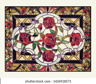 original art, acrylic on canvass of stained glass window with roses