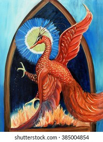 Original art, acrylic painting of phoenix bird, rising from ashes and flames, symbolizes rebirth