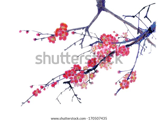 original art, watercolor painting of cherry tree branch in bloom