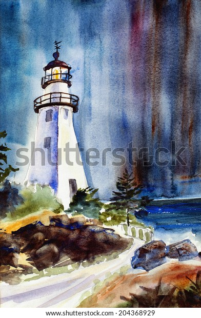 Original Art Watercolor Painting Lighthouse Night Stock