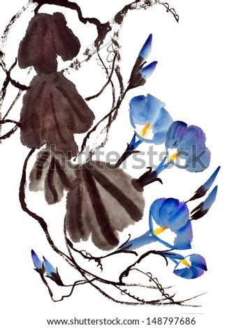 56f887b46 Original Art Watercolor Painting Morning Glories Stock Illustration ...