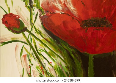 Original art, watercolor painting of red poppies.