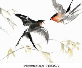original art, watercolor painting of red-breasted birds and branches in Asian style