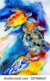 original art, watercolor painting of sea turtles swimming