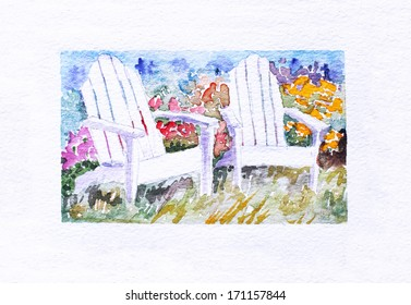 original art, watercolor painting of two white adirondack chairs in a garden