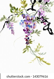 original art, watercolor painting of wisteria blossoms, Asian style painting