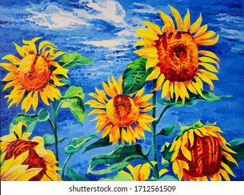 Original artwork. Oil painting with sunflowers. Modern art.