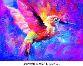 Original artwork. Pastel painting of a bird. Modern art.
