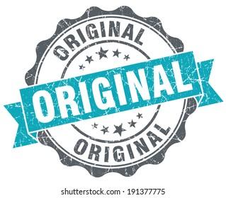 Original blue grunge retro style isolated seal