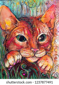 Original Cat Illustration Gouache Painting Vertical Portrait Orientation