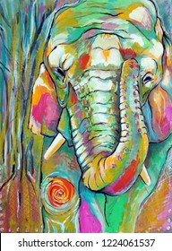 Original Colorful Elephant Illustration Gouache Painting