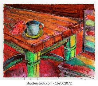 Original Colorful Painting of a Kitchen or Cafe Seating Area with a Table, Chair, and Tea Cup
