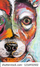 Original Colorful Pop Art Style Dog Painting Rat Terrier
