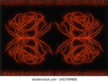 The original design of an abstract geometric background in the form of orange rose flowers made of luminous lines