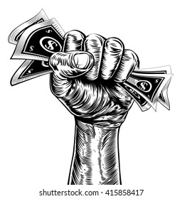 An original design of a fist holding money in a vintage propaganda poster wood cut style