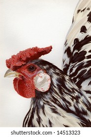 Original detailed watercolor illustration of a 'Speckled Sussex' chicken.