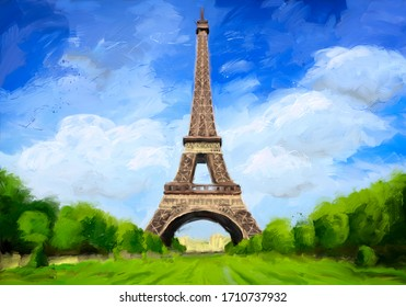 Originelles digitales Bild vom Eiffelturm in Paris, Frankreich