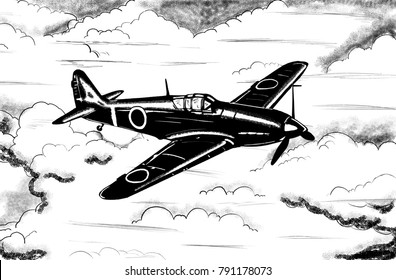 Original digital sketch. World War 2 vintage aircraft. Japanese fighter plane.